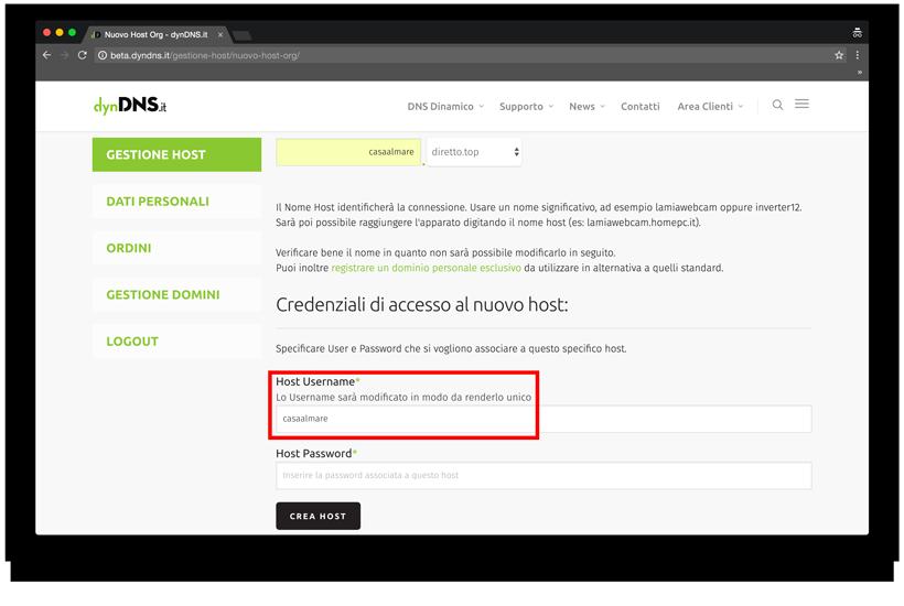 Come si crea un host .org? - dynDNS.it - DNS dinamico gratuito - Nuovo Host .org