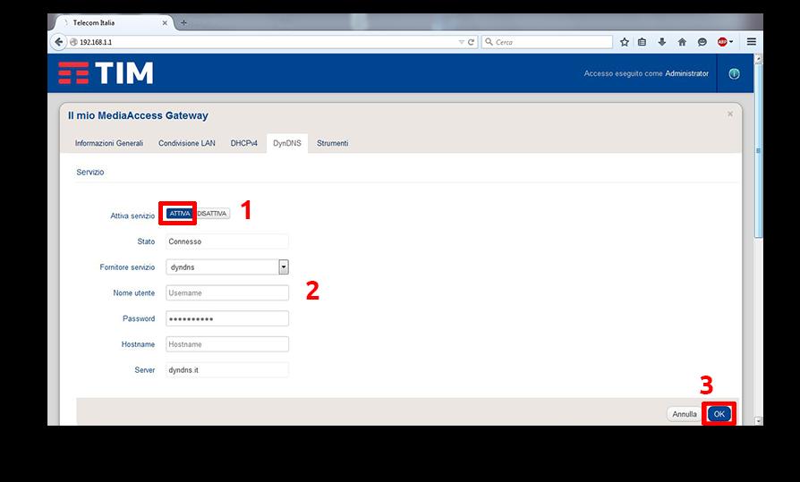 Configurazione dynDNS.it per Smart Modem Tim - dynDNS.it - DNS dinamico gratuito