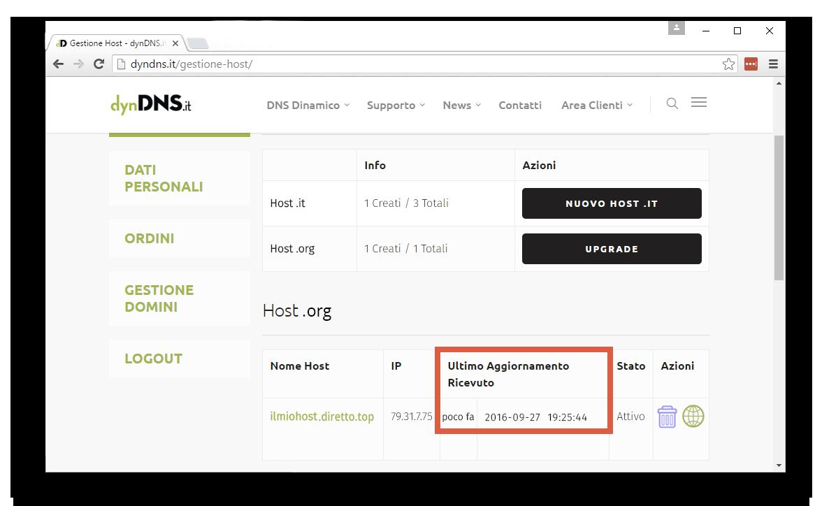 Verifica corretta configurazione - Configurazione dynDNS.it con host .org - dynDNS.it - DNS dinamico gratuito